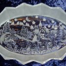 Mikasa Oval Crystal Platter Santa Christmas Holiday Decor