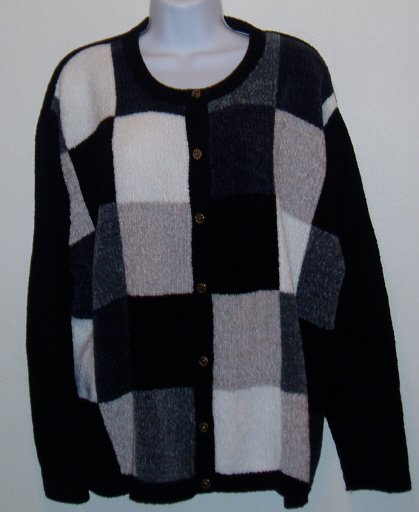 Croft & Barrow Woman Black White Tan Sweater Size 2X