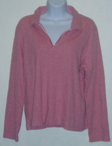 Liz Claiborne Lizsport Pink V-Neck LS Shirt Top Size XL