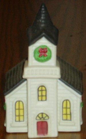 Ceramic Church Salt Pepper Shaker Set Holiday Christmas