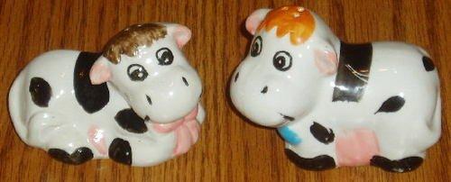 Black White Cow Ceramic Salt Pepper Shaker Set