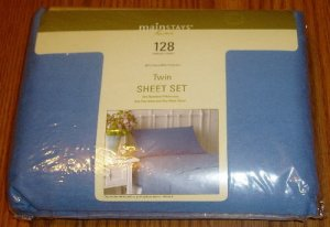 Twin Sheet Set Porcelain Blue Mainstays NIP 128 Thread Ct.