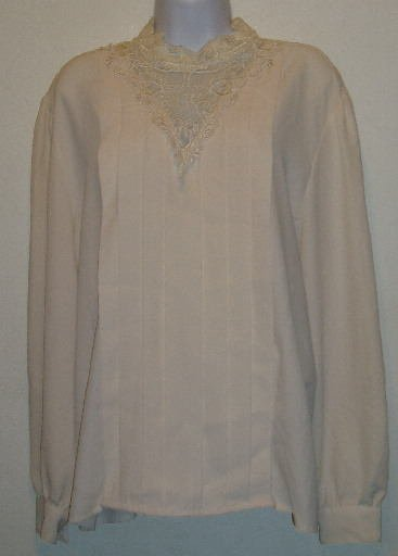 Worthington White Top Pleated Front Long Sleeve Size 18