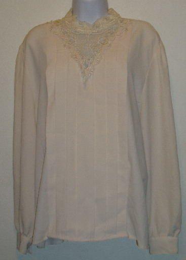 Worthington White Top Pleated Front Long Sleeve Size 18