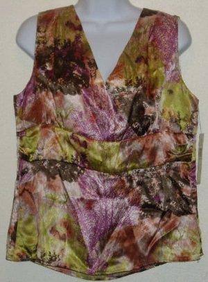 NWT Amanda Smith Multi-Color Sleeveless Blouse Size 12