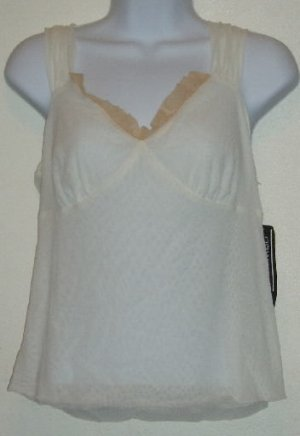 NWT NY City Design Co.White/Tan Nylon Tank Top Size L