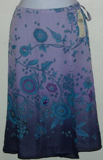 NWT Valerie Stevens Purple Floral Jeweled Skirt Size 4