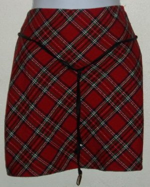 Xhilaration Juniors Size 7 Red Plaid Skirt Punk Goth