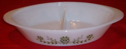 Vintage Glasbake Green Floral Divided Vegetable Baking Dish