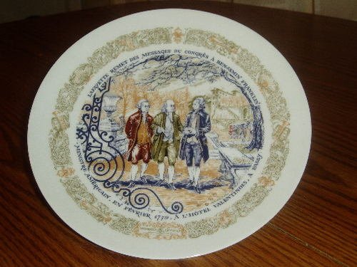 D'Arceau Limoges Ben Franklin John Adams Collector Plate