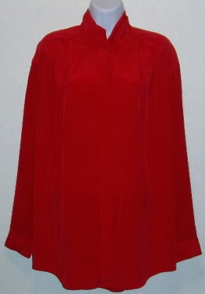 Leslie Fay Red Long Sleeve Career Blouse/Shirt Size 14