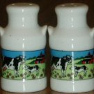 Ceramic Milk Can Salt/Pepper Shakers Cows Barn Country