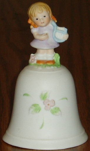HOMCO Bell Girl With Harp Handpainted Porcelain #1416
