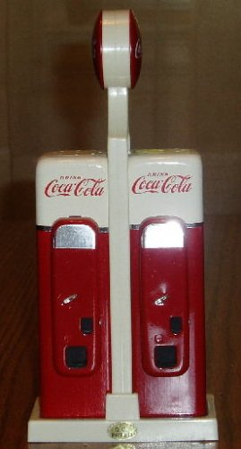 Coca-Cola Vending Machine Salt/Pepper Shakers W/Caddy