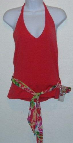 NWT Bandolino Pink Halter Top W/Floral Tie & Pin Sz PL