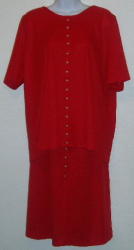 Red Skirt/Shirt Set Short Sleeve Faux Button Size 18/20