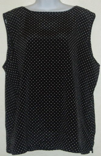 Black/White Polka Dot Sleeveless Blouse/Shirt Size 18/20W