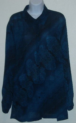 Maggie McNaughton Blue/Black Paisley Print Sheer Blouse 1X