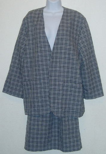 Blue Plaid Skirt/Jacket Set Skirt Suit Size Large  Career