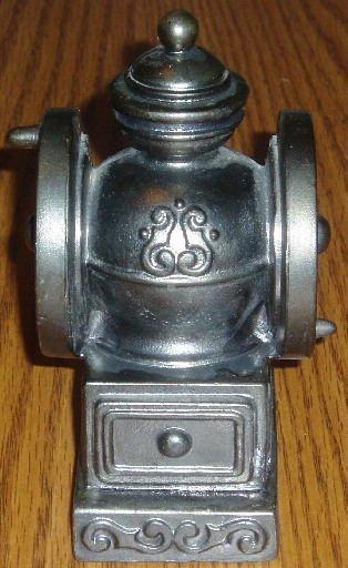 1974 Banthrico White Metal Figural Coffee Grinder Bank