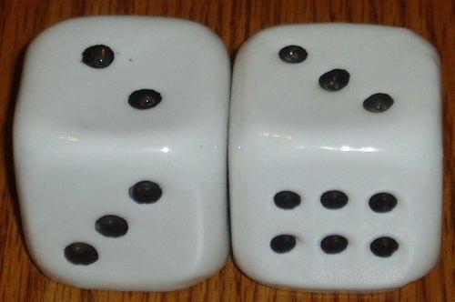 Ceramic Figural Dice Salt and Pepper Shaker Set