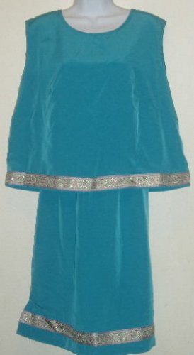 Turquoise Embellished Skirt/Sleeveless Top Outfit/Set Sz. L
