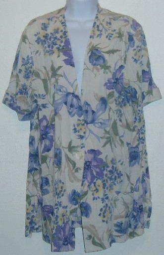 Jessica Scott Purple Floral Jacket/Blazer Short Sleeve Sz. L