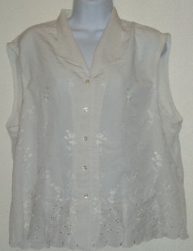 Joanna White Sleeveless Embroidered Blouse/Top Sz. XL
