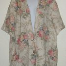 Joanna Tan Short Sleeve Jacket/Blazer Pink Floral Sz. XL