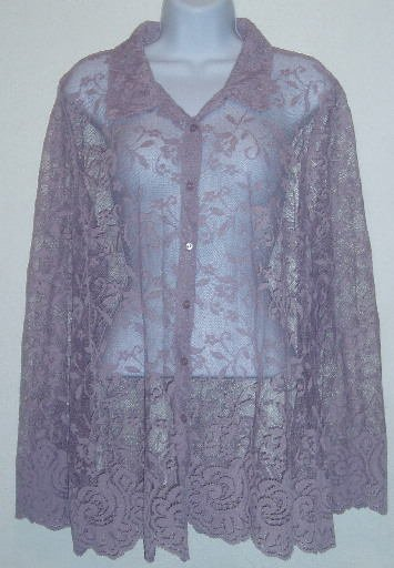 Light Purple George Lace Button Down Shirt/Top Size 18/20