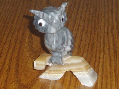 Polished Rock Gray Owl On a Limb Figurine/Statue Unique