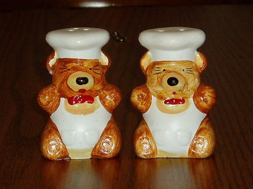 Figural Bear Chef Salt/Pepper Shaker Set Hand Painted