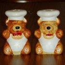 Figural Bear Chef Salt/Pepper Shaker Set Hand Painted