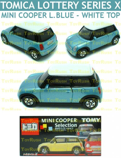 Tomy Tomica Lottery Series X : #L10-11 Mini Cooper Light Blue With White Top