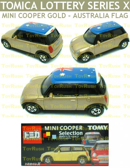 Tomy Tomica Lottery Series X : #L10-18 Mini Cooper Gold With Australia Flag Top