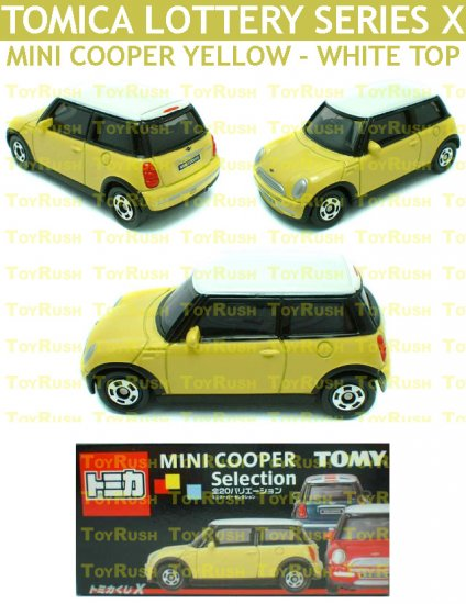 Tomy Tomica Lottery Series X : #L10-05 Mini Cooper Yellow With White Top