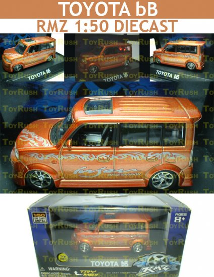 RMZ Diecast : Orange Toyota bB With Sound, Lights & Pull Back Function