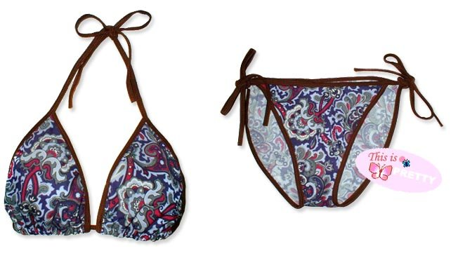 New Brown Purple Paisley String Bikini Top & Matching Tie Sides Bottom