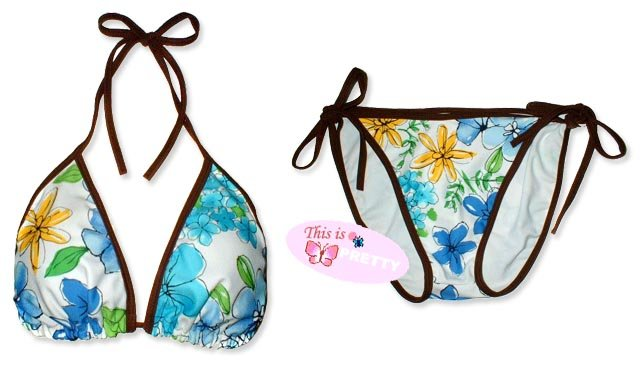New Brown Blue-Yellow Tropical String Bikini Top & Matching Tie Sides Bottom