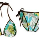 New Brown Blue-Green Tropical String Bikini Top & Matching Tie Sides Bottom