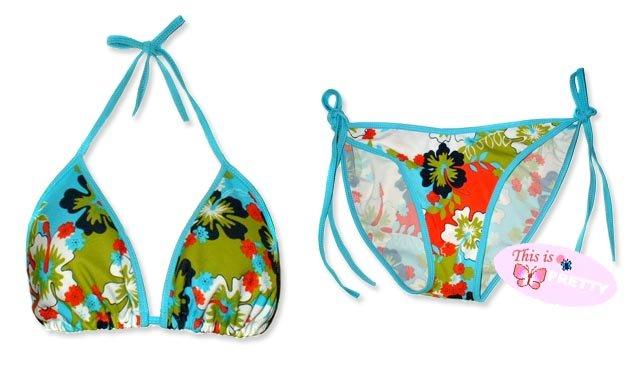 New Blue Hawaiian Tropical String Bikini Top & Matching Tie Sides Bottom