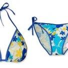 New Blue Yellow Tropical String Bikini Top & Matching Tie Sides Bottom