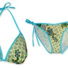 New Blue Yellow Paisley String Bikini Top & Matching Tie Sides Bottom