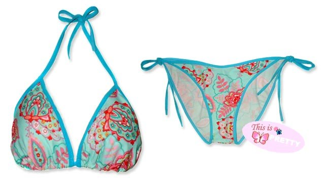 New Blue Pink Paisley String Bikini Top & Matching Tie Sides Bottom