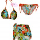 New Orange-Blue Hawaiian String Bikini Top With Matching Tie Sides Bottom & Cover Skirt