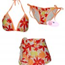 New Orange Red Hawaiian String Bikini Top With Matching Tie Sides Bottom & Cover Skirt