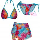 New Blue-Pink Tropical String Bikini Top With Matching Tie Sides Bottom & Cover Skirt