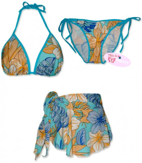 New Blue-Orange Tropical String Bikini Top With Matching Tie Sides Bottom & Cover Skirt