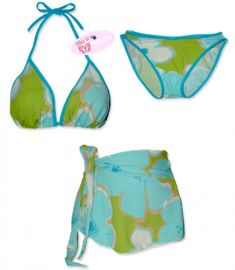 New Blue-Green Tropical String Bikini Top With Matching Bottom & Cover Skirt