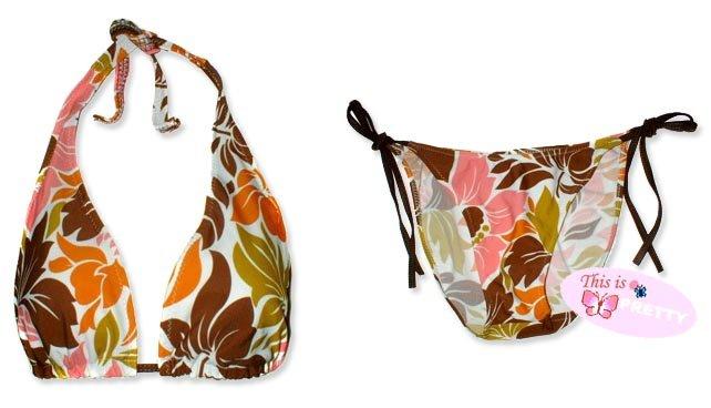 New Brown Orange Tropical Halter Bikini Top & Matching Tie Sides Bottom
